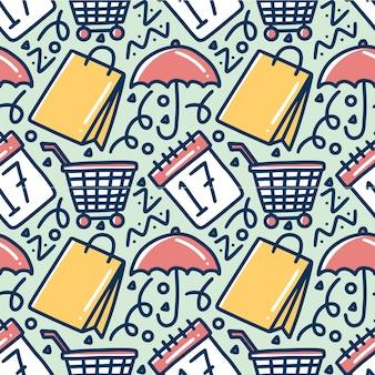 Motif de griffonnage de dessin à la main discount vente avec des icônes et des éléments de conception
