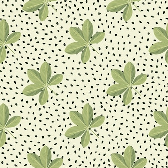 Motif de griffonnage sans couture d'ornement de fleurs de scheffler de couleur verte