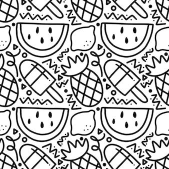 Motif de griffonnage de vacances de fruits dessinés à la main avec des icônes et des éléments de conception