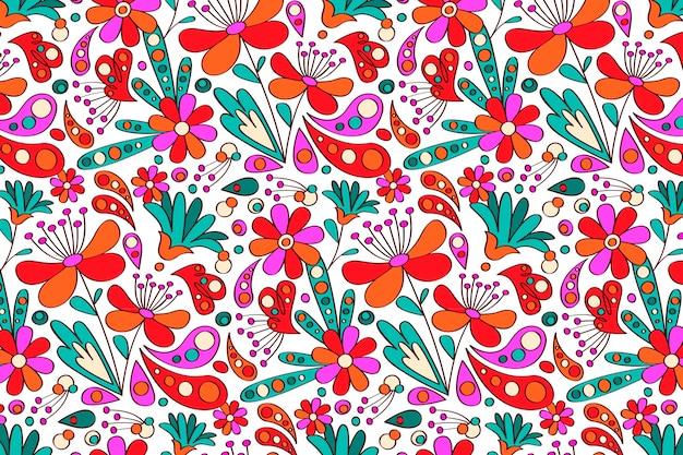 Motif groovy dessiné à la main de fleurs
