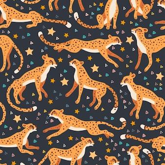 Motif guépard et léopards