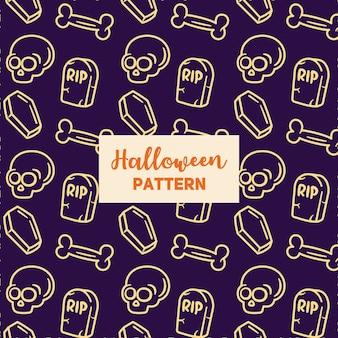 Motif d'halloween avec un cercueil, un pot, une pierre tombale.
