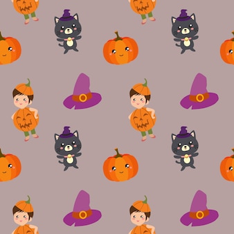 Motif d'halloween avec des enfants et un chat à la citrouille
