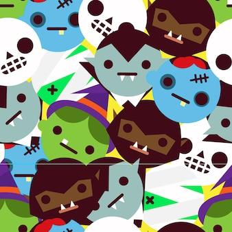 Motif de halloween nice avec des têtes de monstre géométrique