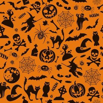 Motif d'halloween sans couture avec des chauves-souris, des fantômes et des citrouilles. illustration vectorielle isolé