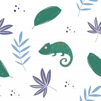 Motif haméléons tropicaux