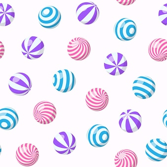 Motif harmonieux de balles rayées, de chewing-gum, de bonbons ronds ou de sphères gonflables de plage. fond de dessin animé de vecteur avec dragée douce avec motif en spirale, boules de gomme ou jouets de sport en plastique