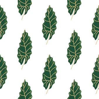 Motif harmonieux de botanique décorative avec impression de feuilles d'oal vert