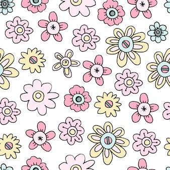 Motif harmonieux de délicates fleurs printanières de griffonnage pour le papier peint dans la pépinière ou pour le papier d'emballage ou le tissu.