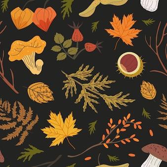 Motif harmonieux d'éléments floraux : bruyère, aiguilles de sapin, sandthorn, groseille du cap, fougère, feuilles d'érable. illustration de la forêt d'automne pour le textile, le tissu, l'arrière-plan d'impression de papier d'emballage.