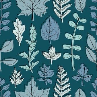 Un motif harmonieux de feuilles et de fleurs séchées pour l'herbier.
