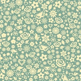 Motif harmonieux de fleurs, de feuilles, d'étoiles, de papillons et de coeurs. jaune sur turquoise.