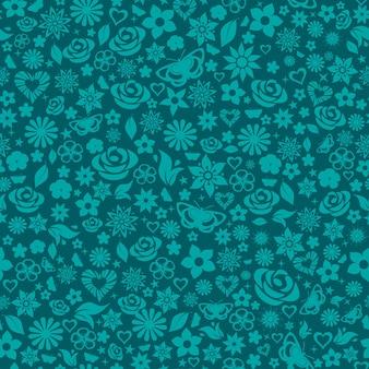 Motif harmonieux de fleurs, de feuilles, d'étoiles, de papillons et de coeurs. turquoise sur foncé.