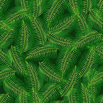 Motif harmonieux de jungle décorative avec des silhouettes aléatoires de feuilles de fougère verte. ornement de griffonnage de la nature.