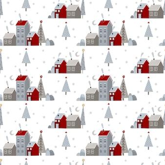 Motif harmonieux de noël et du nouvel an avec des éléments d'hiver de noël