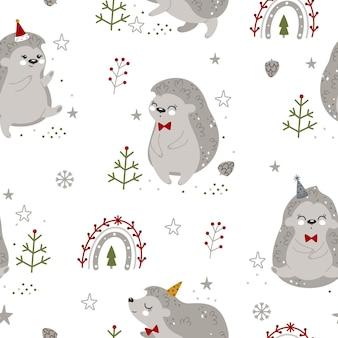 Motif harmonieux de noël et du nouvel an avec des hérissons de noël et des éléments d'hiver