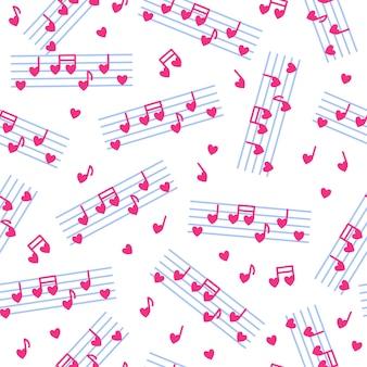 Motif harmonieux de notes en forme de coeur et de bâton pour le mariage ou la saint-valentin.