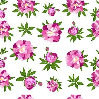 Motif harmonieux de pivoines pour l'impression sur tissu, papier peint, arrière-plan de la fête des mères, de la femme, pour la conception de cartes de mariage.