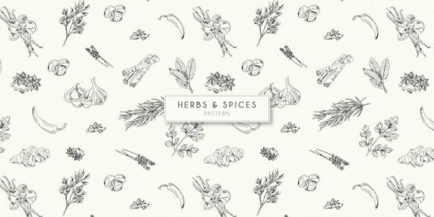 Motif herbes et épices