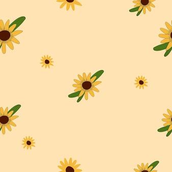 Le motif de l'heure d'été avec les fleurs du soleil répète l'objet. modèle textile sans couture illustration vectorielle