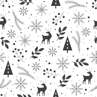 Motif d'hiver noir et blanc