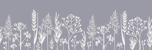 Motif horizontal sans couture de différents types d'herbes des champs