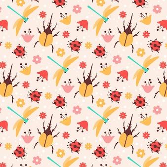 Motif Insectes Et Fleurs Vecteur gratuit