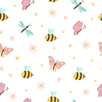 Motif avec des insectes mignons