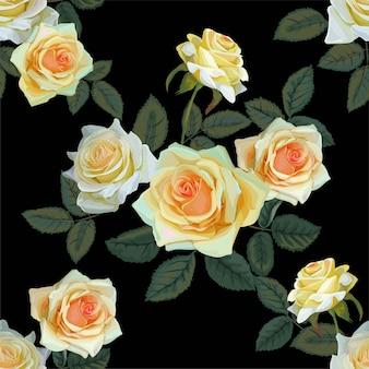 Motif isamless fleur bouquet rose jaune sur fond noir