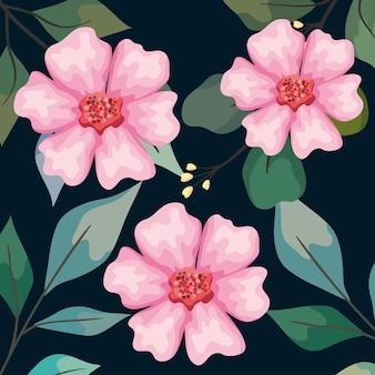 Motif de jardin de fleurs roses