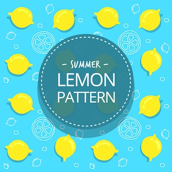 Motif jaune plat citron été dessiné main doux