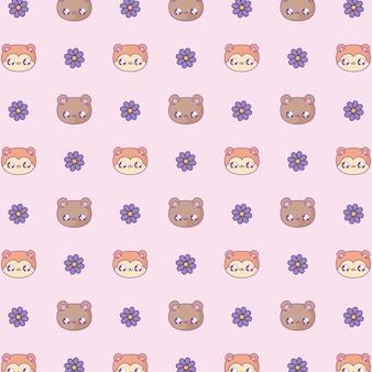 Motif de jolies têtes d'ours et de renards, style bébé kawaii