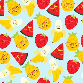 Motif kawaii aux fruits