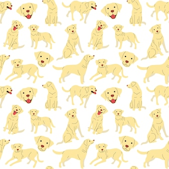 Motif labrador, poses de chien