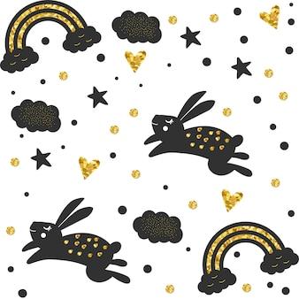 Motif lapin or noir