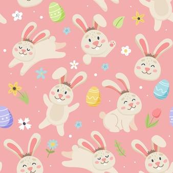 Motif de lapin de pâques avec des fleurs et des oeufs mignons