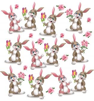 Motif de lapins mignons