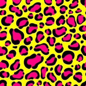 Motif léopard sans couture de couleur jaune et rose fluo.