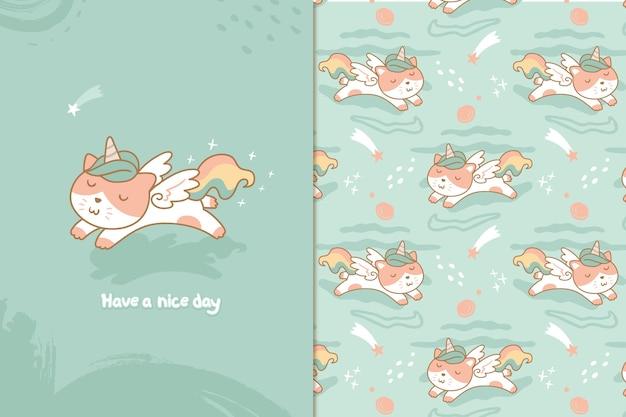 Motif de licorne chat mignon