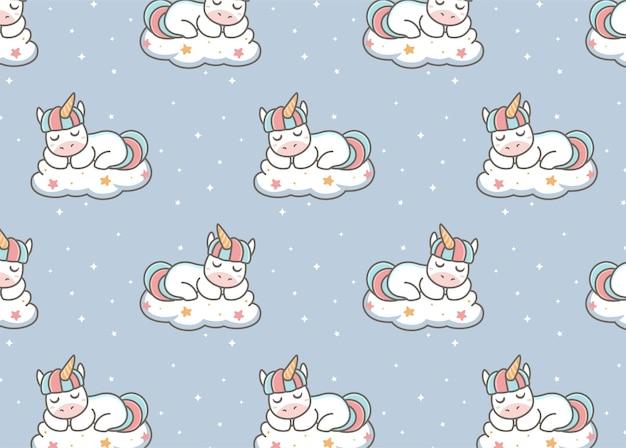 Motif licorne dormant dans le nuage