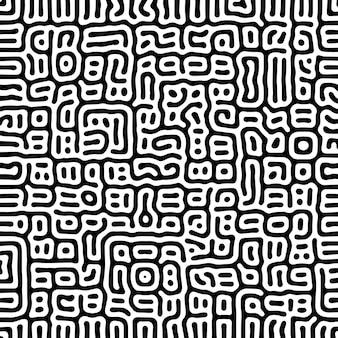 Motif de lignes arrondies organiques de vecteur noir et blanc.