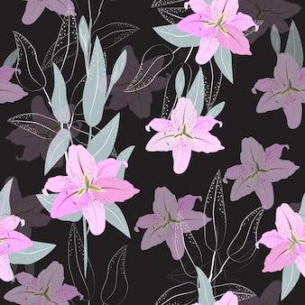 Motif de lis rose sans couture