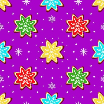 Motif lumineux avec des biscuits au gingembre sous forme de flocons de neige sur fond violet