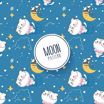 Motif lune et étoiles avec chaton