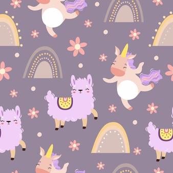 Motif magique de licorne et de lama