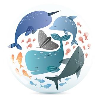 Motif de mammifères marins