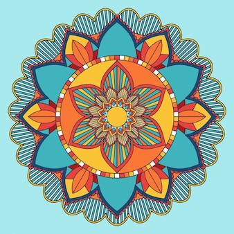 Motif mandala en bleu et orange