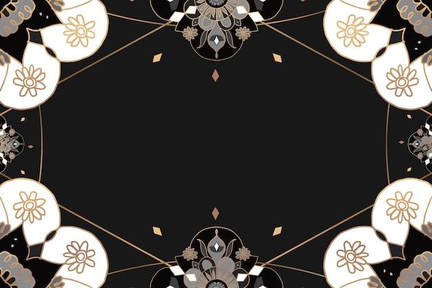 Motif mandala cadre doré floral noir style indien