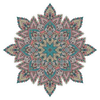Motif de mandala coloré d'éléments floraux au henné basés sur des ornements asiatiques traditionnels.