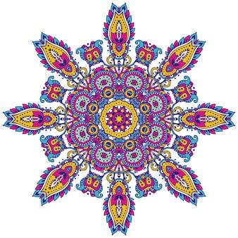 Motif de mandala coloré vectoriel d'éléments floraux au henné basés sur des ornements asiatiques traditionnels. illustration de doodle tatouage paisley mehndi